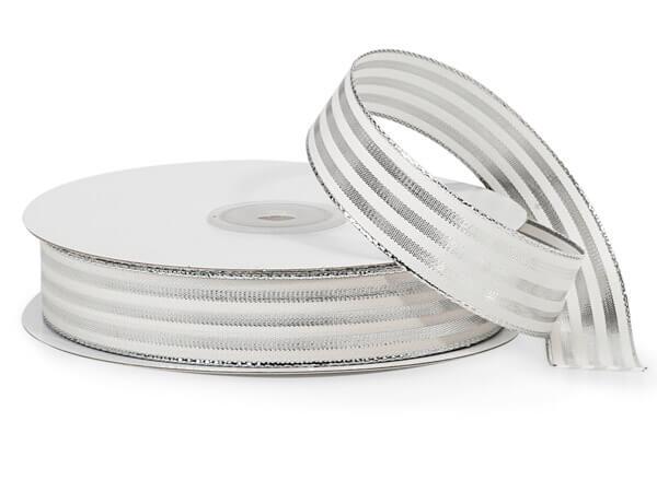 "Metallic Silver and White Striped Cabana Ribbon, 7/8""x25 yards"