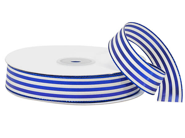 "Metallic Blue and White Striped Cabana Ribbon, 7/8""x25 yards"