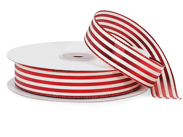 "Metallic Red and White Striped Cabana Ribbon, 7/8""x25 yards"