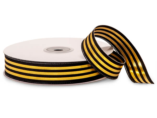 "Metallic Gold and Black Striped Cabana Ribbon, 7/8""x25 yards"