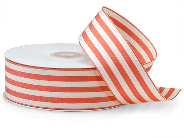 "*Coral and White Striped Cabana Ribbon 1-1/2""x25 yds"