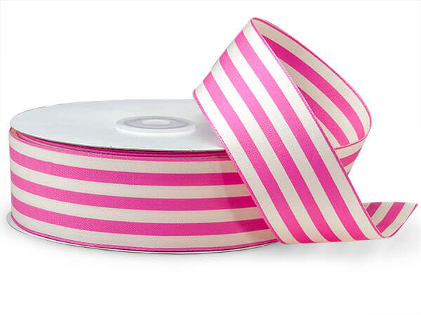 "Hot Pink and White Striped Cabana Ribbon, 1-1/2""x25 yards"