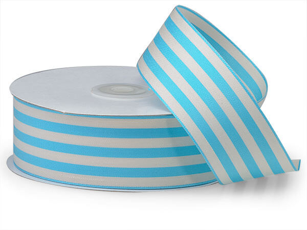 "Turquoise and White Striped Cabana Ribbon 1-1/2""x25 yds"