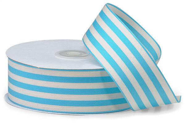 "Turquoise and White Striped Cabana Ribbon, 1-1/2""x25 yards"