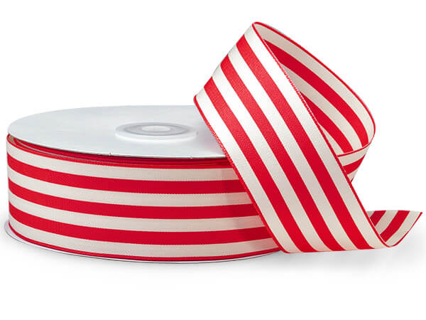 "Hot Red and White Striped Cabana Ribbon 1-1/2""x25 yds"