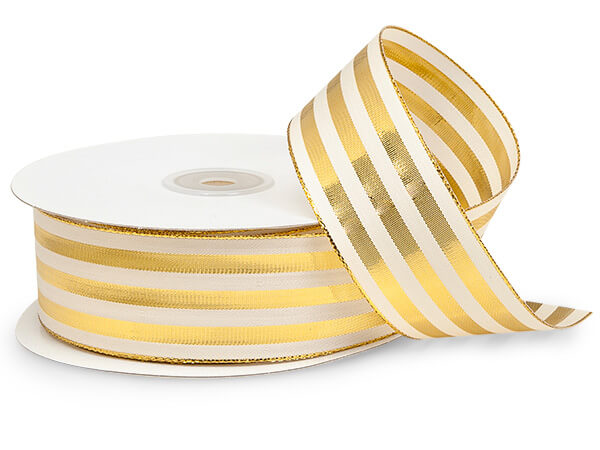 "Metallic Gold and White Striped Cabana Ribbon 1-1/2""x25 yds"