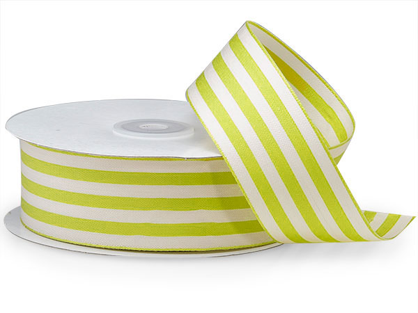 "Apple and White Striped Cabana Ribbon 1-1/2""x25 yds"