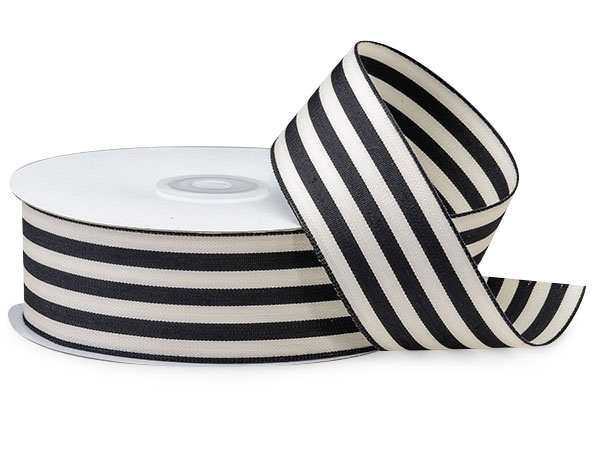 "Black and White Striped Cabana Ribbon 1-1/2""x25 yds"