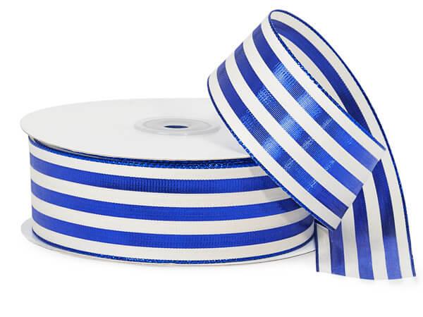 "Metallic Blue and White Striped Cabana Ribbon, 1-1/2""x25 yards"