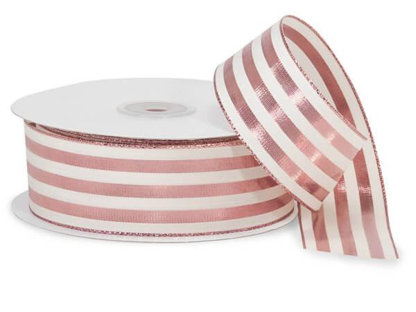 "Metallic Rose and White Striped Cabana Ribbon, 1-1/2""x25 yards"