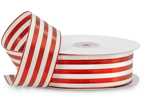 Cabana Stripe Metallic Red Ribbon