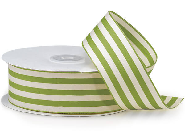 "Lime Green and White Striped Cabana Ribbon, 1-1/2""x25 yards"
