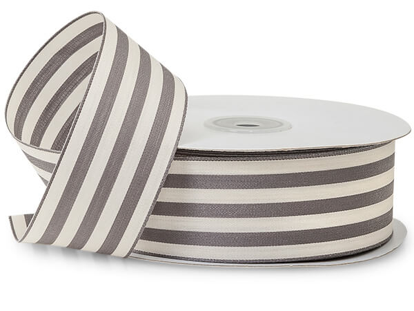 "Charcoal Gray  and White Striped Cabana Ribbon 1-1/2""x25 yds"