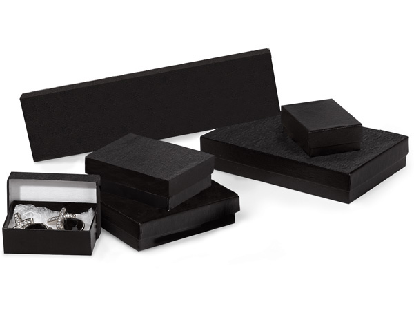 *Black Embossed Jewelry Gift Boxes, 5 Size Assortment,42 Pack