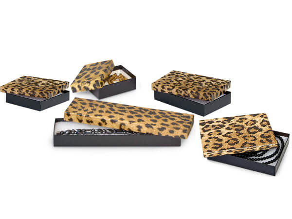 *Leopard Jewelry Gift Boxes, 5 Size Assortment,42 Pack