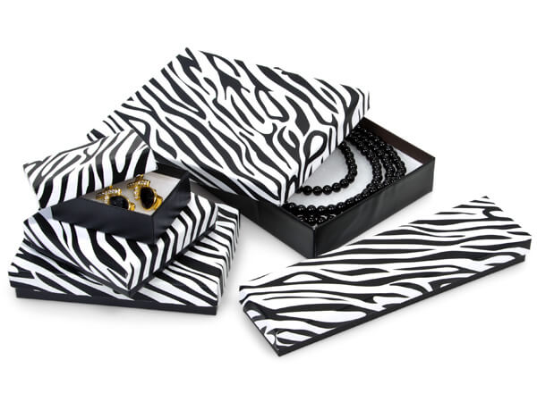 *Zebra Jewelry Gift Boxes, 5 Size Assortment,42 Pack