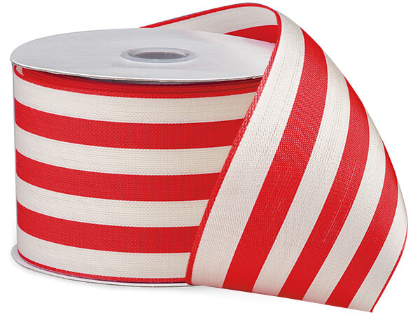"""Hot Red and White Striped Cabana Ribbon, 2-1/2""""x10 yards"""