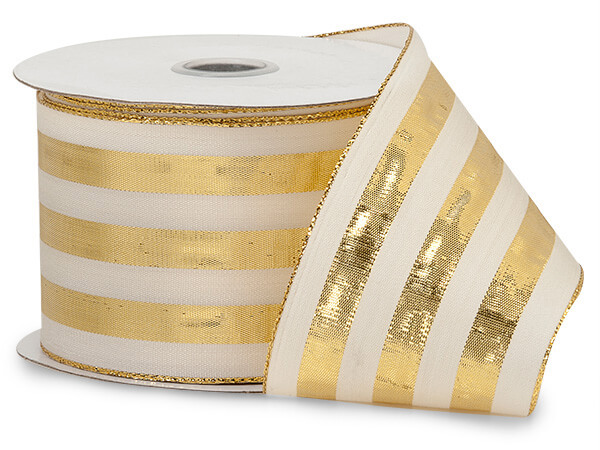 "Metallic Gold  and White Striped Cabana Ribbon 2-1/2""x10 yds"