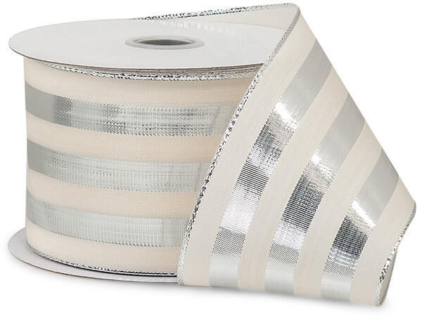 Cabana Stripe Metallic Silver Ribbon