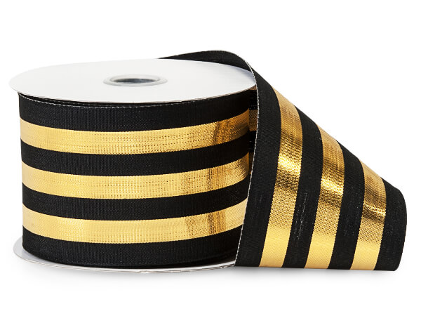 "Metallic Gold and Black Striped Cabana Ribbon, 2-1/2""x10 yards"