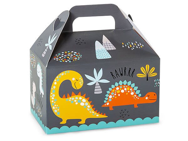 """Dinosaurs Party Favor Gable Boxes 6x3.75x3.5"""", 6 Pack"""