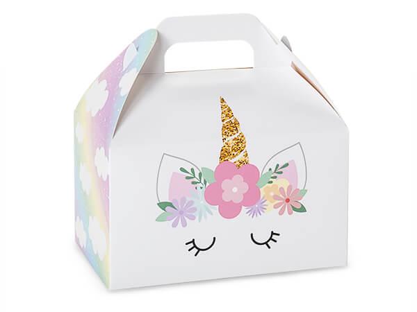 """Pastel Unicorn Party Favor Gable Box, 6x3.75x3.5"""", 6 Pack"""