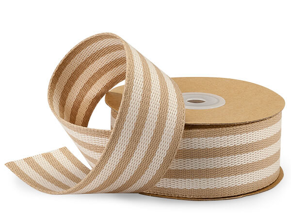 "Ivory and Kraft Striped Burlap Ribbon, 1-1/2""x10 yards"