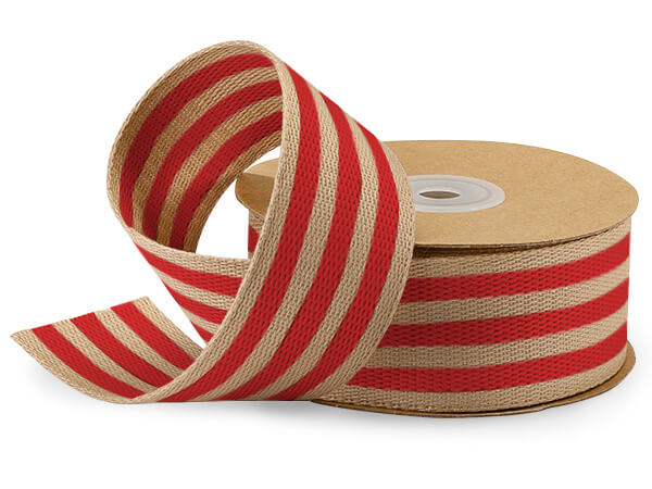 "Red and Kraft Burlap Striped Ribbon 1-1/2""x10 yds"