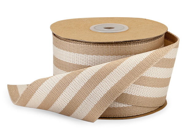 "Ivory and Kraft  Striped Burlap Ribbon 2-1/2""x10 yds"
