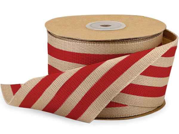 "Red and Kraft Burlap Striped Ribbon 2-1/2""x10 yds"