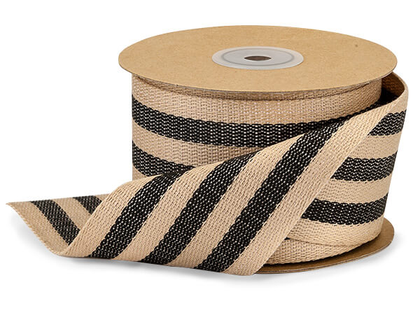 "Black and Kraft Burlap Striped Ribbon, 2-1/2""x10 yards"