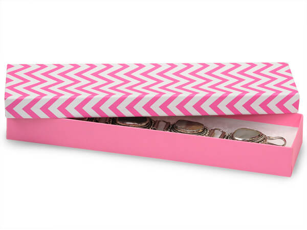 "Calypso Pink Chevron Jewelry Boxes, 8x2x1"", 100 Pack, Cotton Fill"