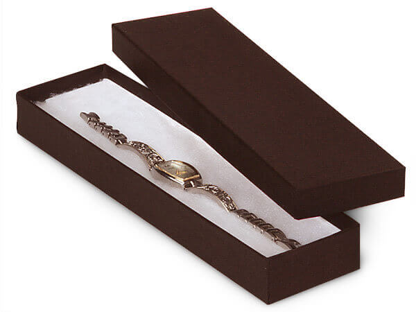 """Chocolate Embossed Jewelry Boxes, 8x2x1"""", 4 Pack, Cotton Fill"""