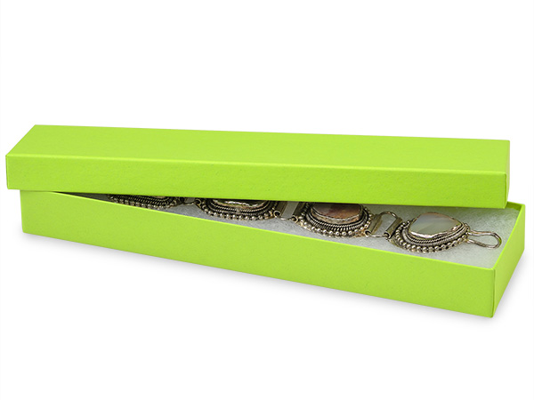 "Citrus Green Serenade Jewelry Box, 8x2x1"", 100 Pack, Cotton Fill"