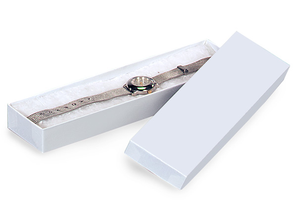 """White Gloss Jewelry Gift Boxes, 8x2x1"""", 100 Pack, Cotton Fill"""