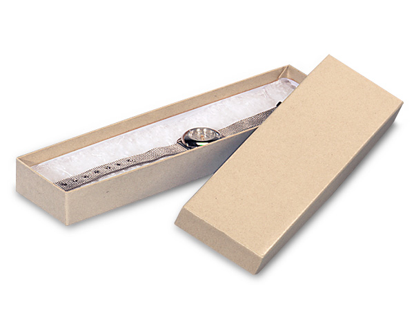 "Brown Kraft Jewelry Gift Boxes, 8x2x1"", 100 Pack, Cotton Fill"