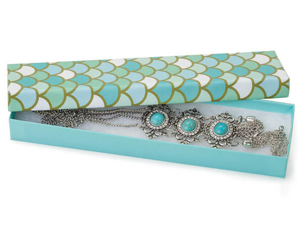 "Mermaids Paradise Jewelry Gift Box, 8x2x1"", 100 Pack, Cotton Fill"