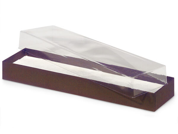 "Clear Lid Chocolate Base Gift Box, 8x2x1"", 100 Pack, Cotton Fill"