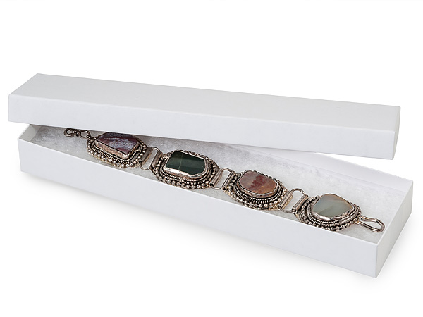 """White Kraft Recycled Jewelry Boxes, 8x2x1"""", 100 Pack, Fiber Fill"""