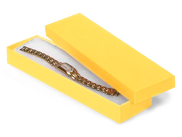 "Yellow Jewelry Gift Boxes, 8x2x1"", 100 Pack, Cotton Fill"