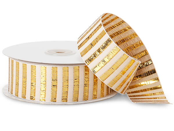 "Metallic Gold Picket Stripe Ribbon, 1-1/2""x25 yards"