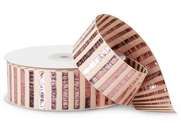 """Metallic Rose Gold Picket Stripe Ribbon, 1-1/2""""x25 yards"""