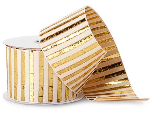 "Metallic Gold Picket Stripe Ribbon, 2-1/2""x10 yards"