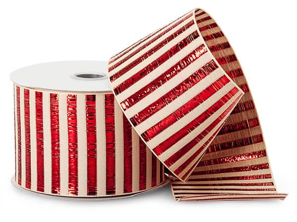 """*Metallic Red Picket Stripe Ribbon, 2-1/2""""x10 yards"""
