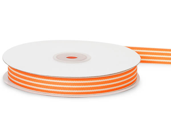 Orange and Natural Stripe Grosgrain Ribbon