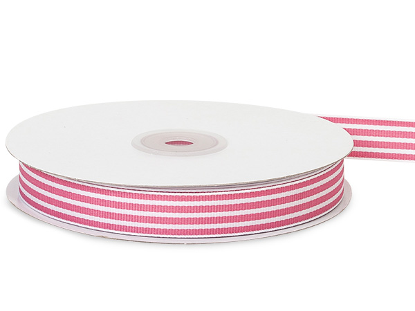 Pretty Pink and White Stripe Grosgrain Ribbon