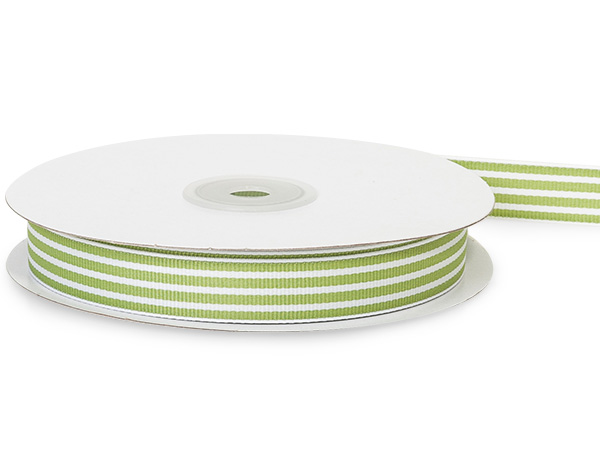 "Lime Green and White Stripes Grosgrain Ribbon 5/8""x 25 yds"