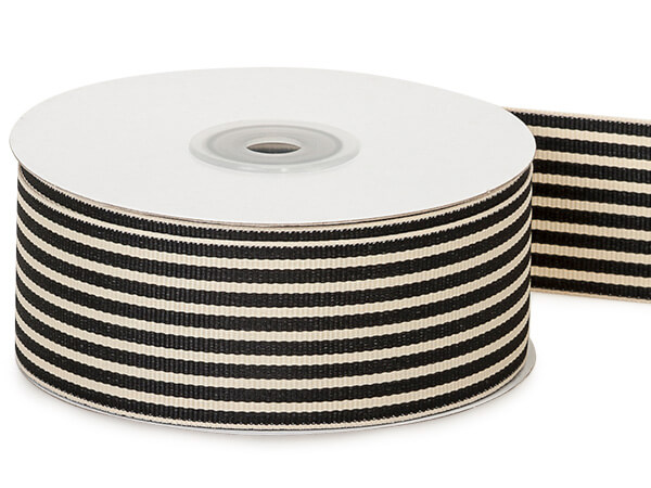 "Black and Natural Stripes Grosgrain Ribbon, 1-1/2""x25 yards"