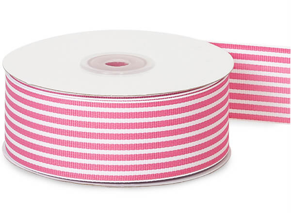 Pink and White Striped Grosgrain Ribbon