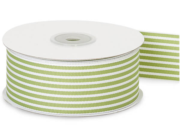 Lime Green Striped Grosgrain Ribbon